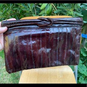 Vintage 80's Eel Skin Clutch Purse Bag